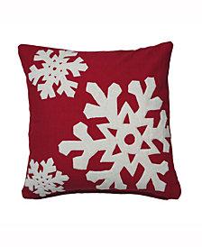 Vickerman Decorative Pillow Featuring Festive Cotton Duckcloth Appliqued In White Felt Snowflakes; Micro Poly Insert; Zipper Closure