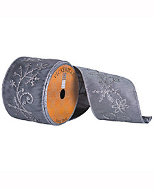 Gray Ribbon With Silver Snowflake Flower Pattern And Silver Edge