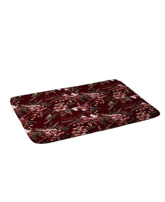 Deny Designs Holli Zollinger Poppy Wild Burgundy Bath Mat