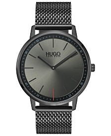 HUGO Men's #Exist Ultra Slim Gray Ion-Plated Stainless Steel Mesh Bracelet Watch  40mm