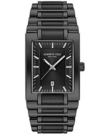 Kenneth Cole New York Men's Black Stainless Steel Tank Bracelet Watch 40mm