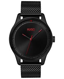 Men's #Move Black Stainless Steel Mesh Bracelet Watch 42mm
