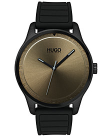 HUGO Men's #Move Black Rubber Strap Watch 42mm