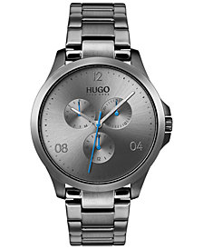 HUGO Men's #Risk Gray Stainless Steel Bracelet Watch 41mm