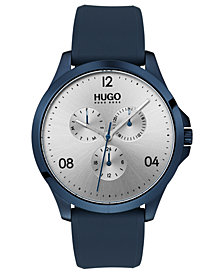 HUGO Men's #Risk Blue Rubber Strap Watch 41mm