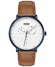 HUGO Men's #Guide Ultra Slim Light Brown Leather Strap Watch 40mm