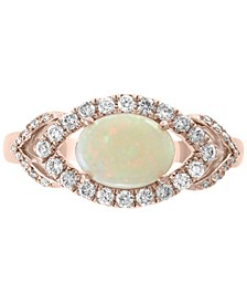 EFFY® Opal (5/8 ct. t.w.) & Diamond (1/3 ct. t.w.) Ring in 14k Rose Gold