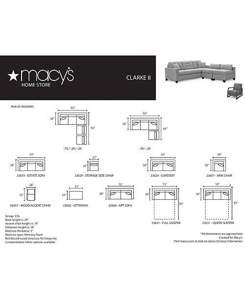 Clarke II 93 Fabric Estate Sofa, Created for Macy's on