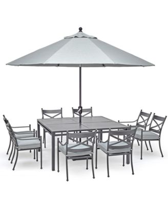 "Montclaire Outdoor Aluminum 9-Pc. Dining Set (62"" X 62"" Table & 8 Dining Chairs) With Sunbrella® Cushions, Created For Macy's"