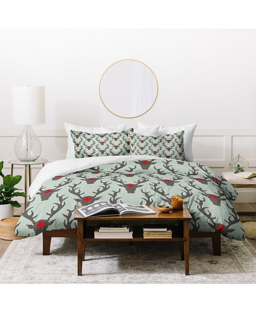 Deny Designs Holli Zollinger Scando Deer Twin Duvet Set