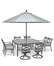 "Montclaire Outdoor Aluminum 8-Pc. Dining Set (62"" X 62"" Table, 4 Dining Chairs, 2 Swivel Chairs & 1 48"" Bench With Back) With Sunbrella® Cushions, Created For Macy's"