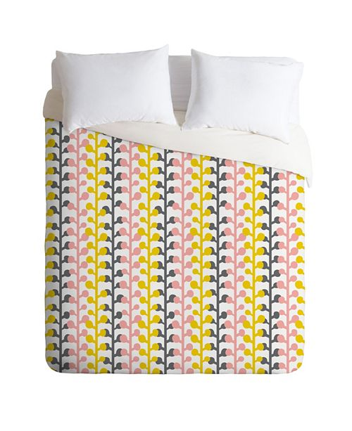 Deny Designs Heather Dutton Sprig Pink Lemonade Queen Duvet Set