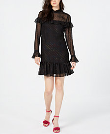 Betsey Johnson Glitter Ruffled A-Line Dress