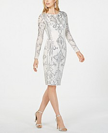 Placed-Sequin Sheath Dress