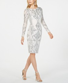 Betsy & Adam Petite Embroidered Sheath Dress