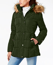 Tommy Hilfiger Faux-Fur-Trim Hooded Puffer Coat