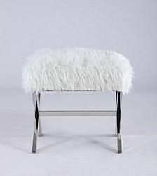 Bella Luna Rectangular Ottoman W/ White Plush Fabric