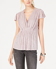I.N.C. Pleated Metallic Cap-Sleeve Top, Created for Macy's