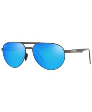 MAUI JIM Sunglasses, 787 Swinging Bridges 6 in Gunmetal Dark / Blue Mir Pol