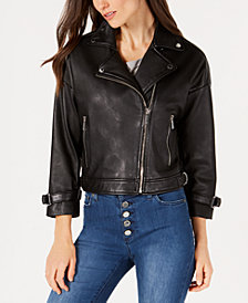 MICHAEL Michael Kors Leather Cropped-Sleeve Moto Jacket