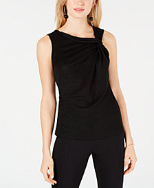 I.N.C. Twist-Neck Shimmer Top, Created for Macy's