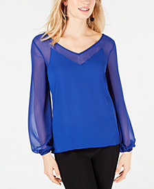 I.N.C. Sheer-Trim Top, Created for Macy's
