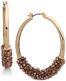 lonna & lilly Gold-Tone Beaded Hoop Earrings