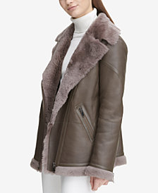 Calvin Klein Long Shearling Biker Jacket
