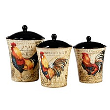 Gilded Rooster 3-Pc. Canister Set