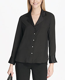 Calvin Klein Long-Sleeve Button-Front Woven Blouse