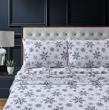 Let it Snow Heavyweight Cotton Flannel Printed Extra Deep Pocket Cal King Sheet Set