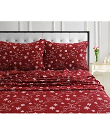 Dots & Deers 170-GSM Cotton Flannel Printed Extra Deep Pocket Full Sheet Set