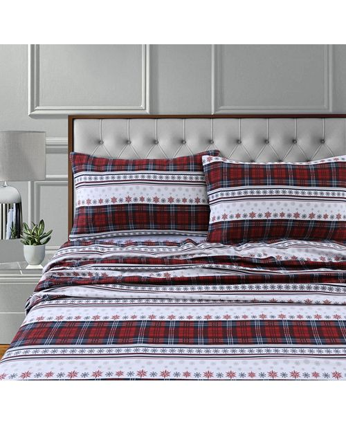 Tribeca Living Comfy Stripe 170-Gsm Cotton Flannel Printed Extra Deep Pocket Cal King Sheet Set
