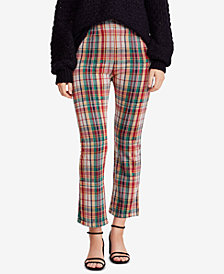 Free People Clean Plaid Flared-Leg Pants