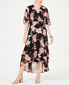 I.N.C. Floral-Print Kimono High-Low Maxi Dress, Created for Macy's