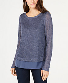 I.N.C. Shine Faux-Layered Sweater, Created for Macy's