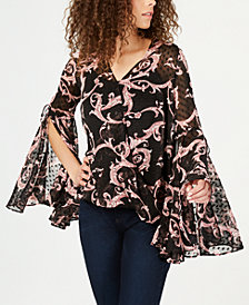 I.N.C. Printed Bell-Sleeve Blouse, Created for Macy's