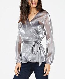I.N.C. Long-Sleeve Wrap Blouse, Created for Macy's