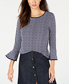 MICHAEL Michael Kors Printed Bell-Sleeve Top, In Regular & Petite Sizes