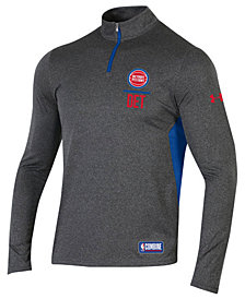 Under Armour Men's Detroit Pistons Combine Authentic Season Quarter-Zip Pullover