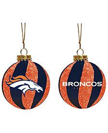 """Memory Company Denver Broncos 3"""" Sparkle Glass Ball"""