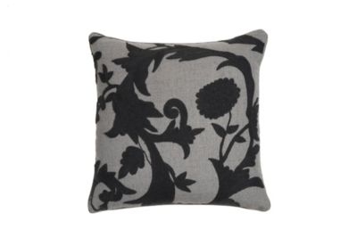 Floral Crewel Embroidered Pillow