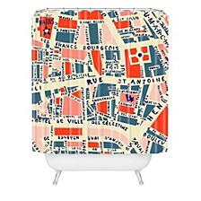 Holli Zollinger Paris Map Blue Shower Curtain