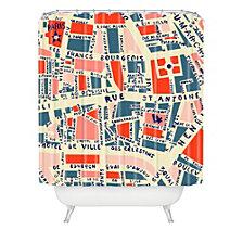 Deny Designs Holli Zollinger Paris Map Blue Shower Curtain