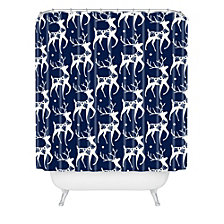 Deny Designs Heather Dutton Dashing Through The Snow Deer Navy Shower Curtain