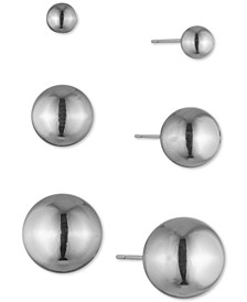 3-Pc. Set Metal Ball Stud Earrings
