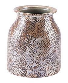 Snake Skin Short Vase Brown