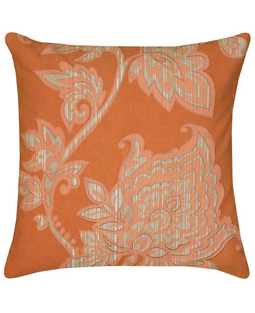 """Rizzy Home 18"""" x 18"""" Floral Poly Filled Pillow"""