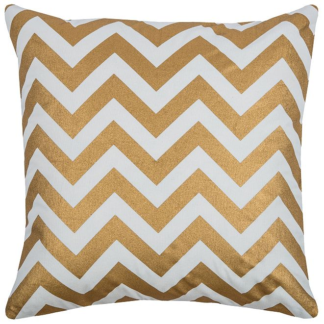 """Rizzy Home 18"""" x 18"""" Chevron Poly Filled Pillow"""