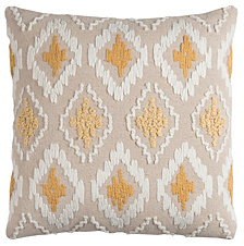 "Rizzy Home Yellow 20"" X 20"" Ikat Poly Filled Pillow"
